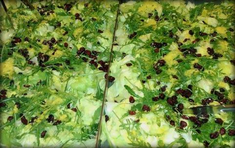 Eisberg-rucolla-cranberries-ginger-lemon salad
