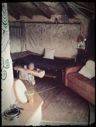 Schneckenhouse. Living room for volunteers in Schweibenalp